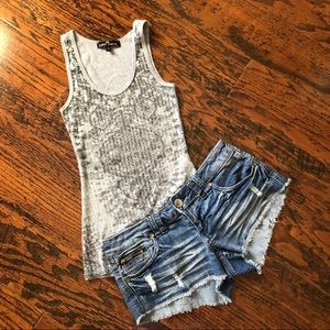 Almost Famous Bundle: cutoff shorts, Sequined Tank